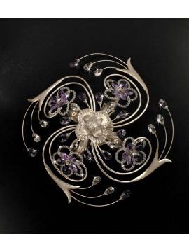 Plafoniera classica ferro battuto 4 luci foglia argento pre PL 149/50