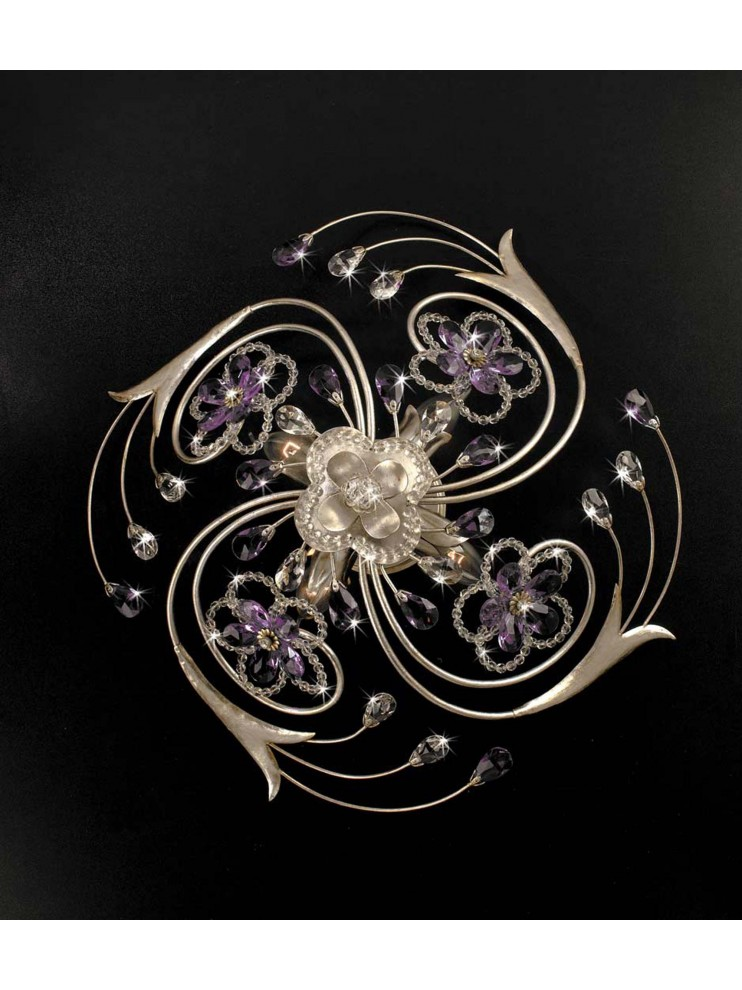 Wrought iron classic ceiling light 4 lights silver leaf pre PL 149/50