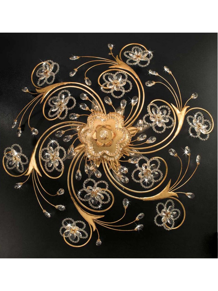 Classic ceiling lamp in wrought iron 8 lights gold leaf pre PL 149/80
