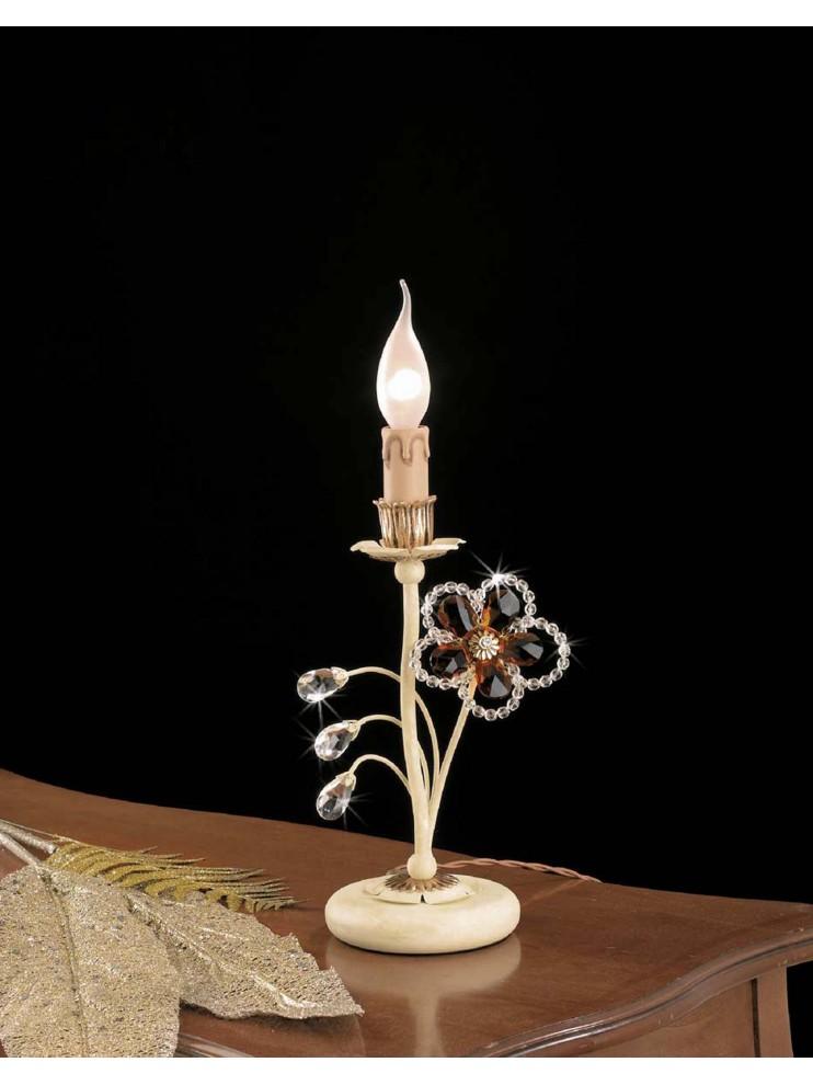 Lumetto classico in ferro battuto 1 luce foglia oro LP 149