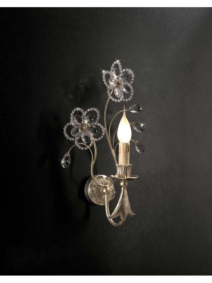 Classic wall light in wrought iron 1 light silver leaf ap 149/1
