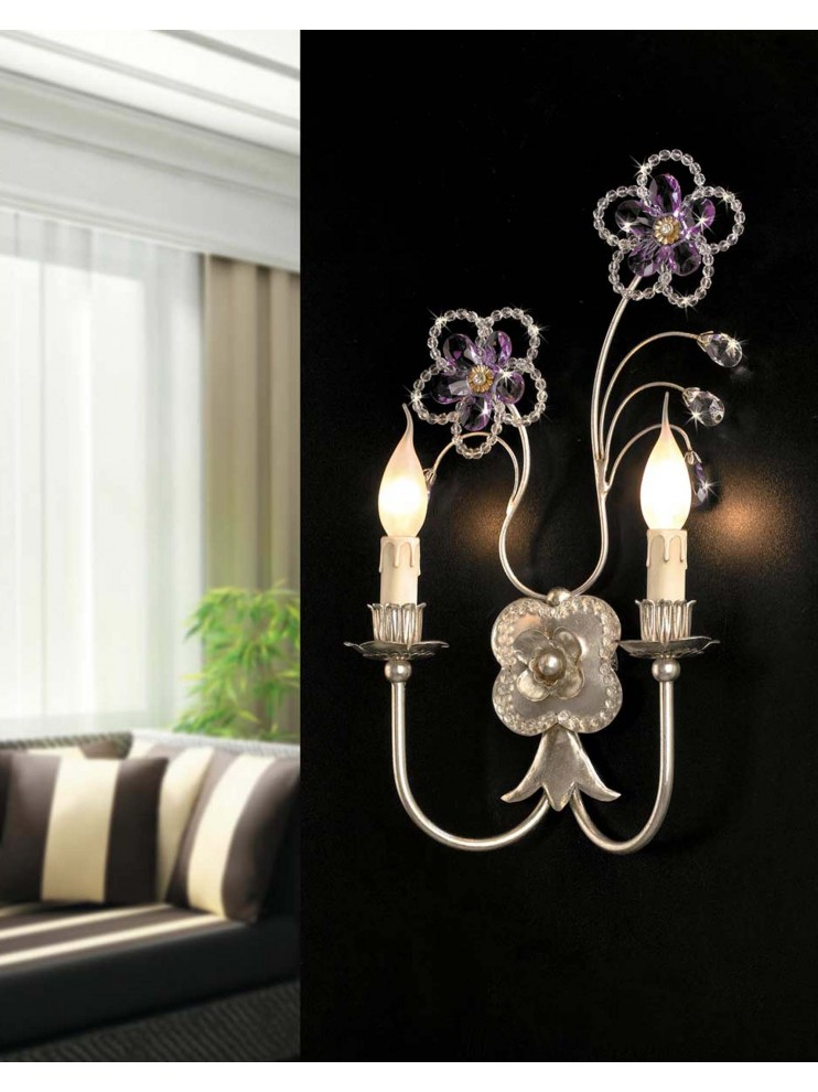 Classic wrought iron wall light 2 lights leaf silver ap 149/2