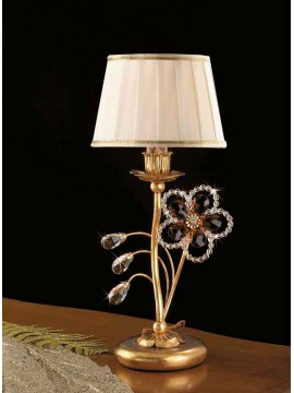 Classic table lamp in wrought iron 1 light gold leaf pre LP 149 / p
