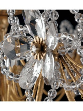 Classic chandelier in wrought iron 5 lights leaf gold LS 149 / 5P