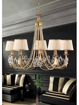 Lampadario classico in ferro battuto 5 luci foglia oro LS 149/5P