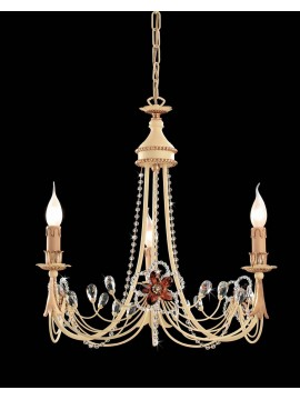 Classic chandelier in wrought iron 3 lights leaf gold LS 149/3