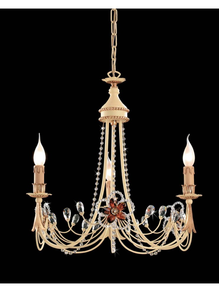 Lampadario classico in ferro battuto 3 luci foglia oro LS 149/3