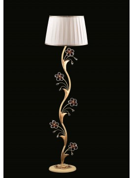 Classic floor lamp in wrought iron 1 light ivory-gold leaf LT 149 / P