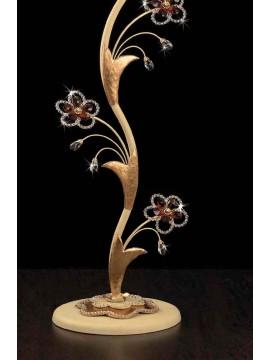 Piantana classica in ferro battuto 1 luce avorio-foglia oro LT 149/P