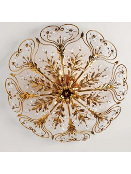 Classic ceiling lamp in wrought iron 8 lights gold leaf pre PL 137/80