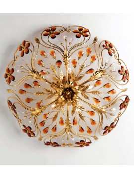 Classic ceiling lamp in wrought iron 5 lights gold leaf pre PL 137/60