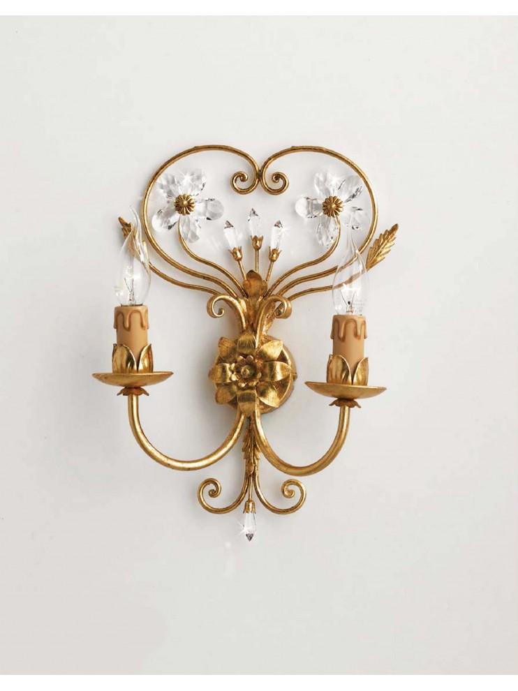Applique classico in ferro battuto 2 luci cristallo foglia oro ap 137/2