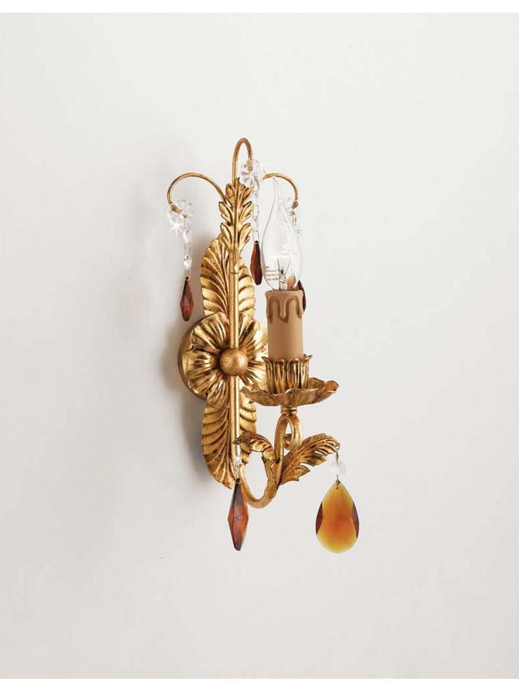 Applique classico in ferro battuto 1 luce cristallo foglia oro pre ap 143/1