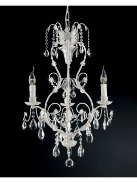 Classic chandelier 3 lights wrought iron white crystal ls 143 / 3b