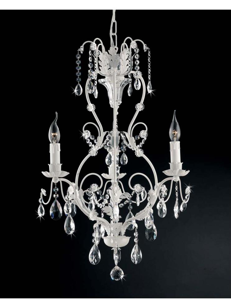 Lampadario classico 3 luci ferro battuto bianco cristallo ls 143/3b