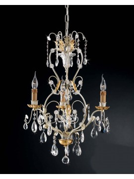 Classic chandelier 3 lights wrought iron leaf silver art. LS 143/3