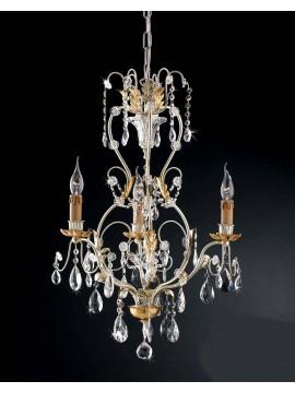 Lampadario classico 3 luci ferro battuto foglia argento art. LS 143/3