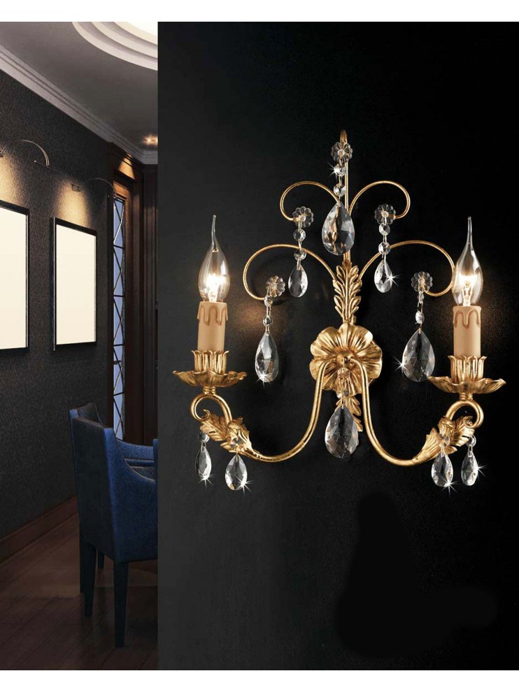 Classic wall light 2 lights wrought iron crystal leaf gold ap 143/2