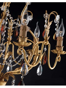 Classic chandelier 6 lights wrought iron leaf gold LS 143/6