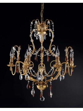 Lampadario classico 6 luci ferro battuto foglia oro LS 143/6