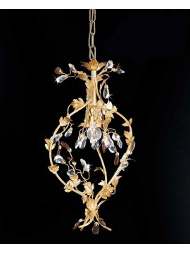Classic chandelier 1 light gold leaf and pre 135ing crystals