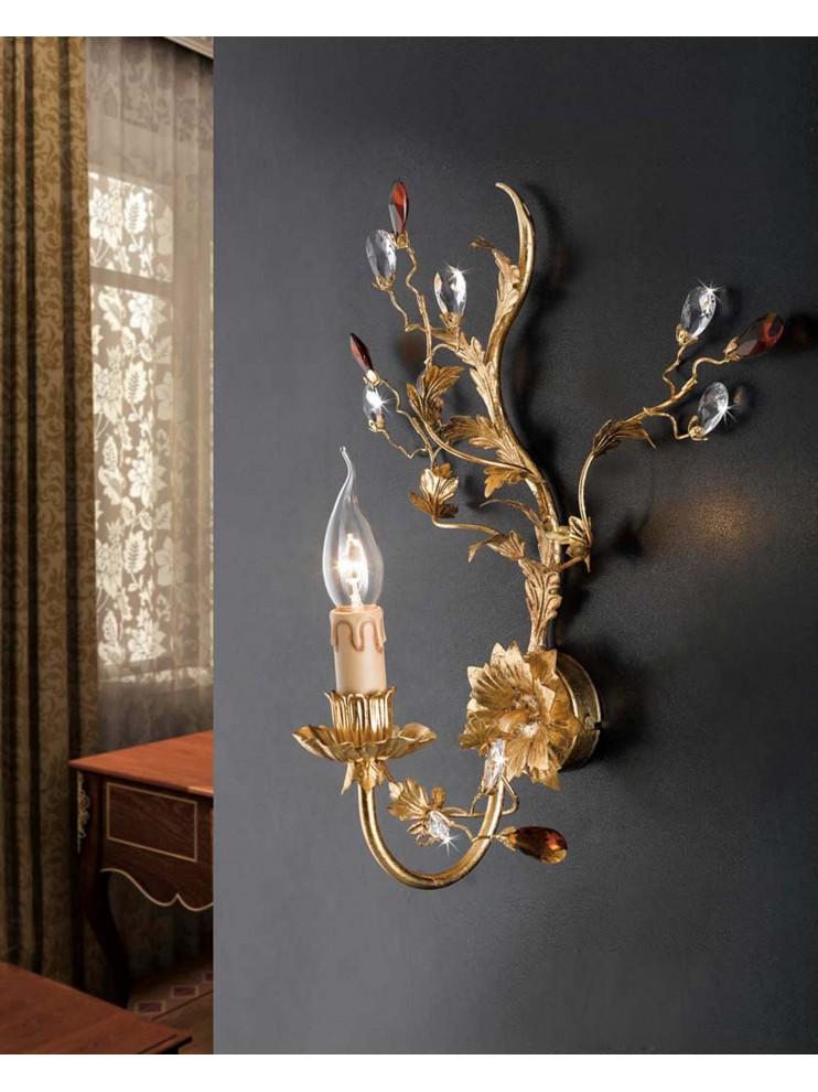 Applique classico 1 luce ferro battuto cristallo foglia oro pre ap 135/1