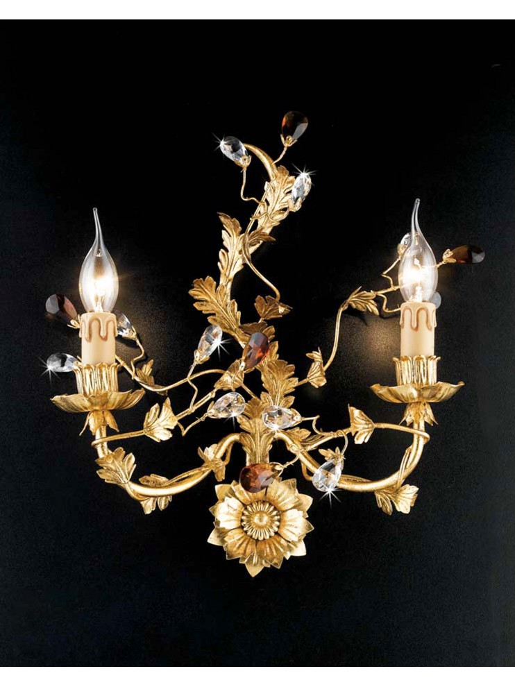Classic wall light 2 lights wrought iron crystal leaf gold ap 135/2