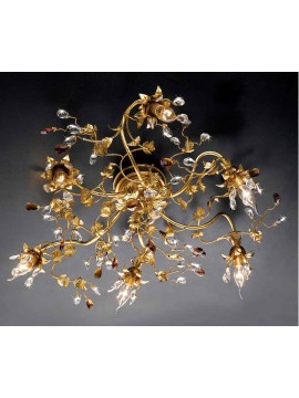 Classic ceiling lamp 6 lights wrought iron gold leaf pre PL 135/6
