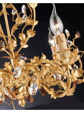 Lampadario classico 3 luci ferro battuto foglia oro LS 135/3