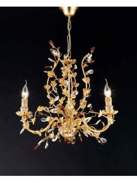 Classic chandelier 3 lights wrought iron leaf gold LS 135/3