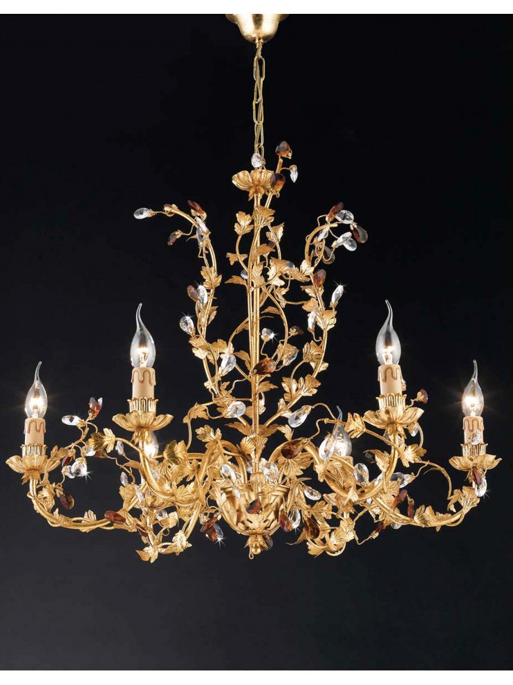 Classic chandelier 6 lights wrought iron leaf gold LS 135/6