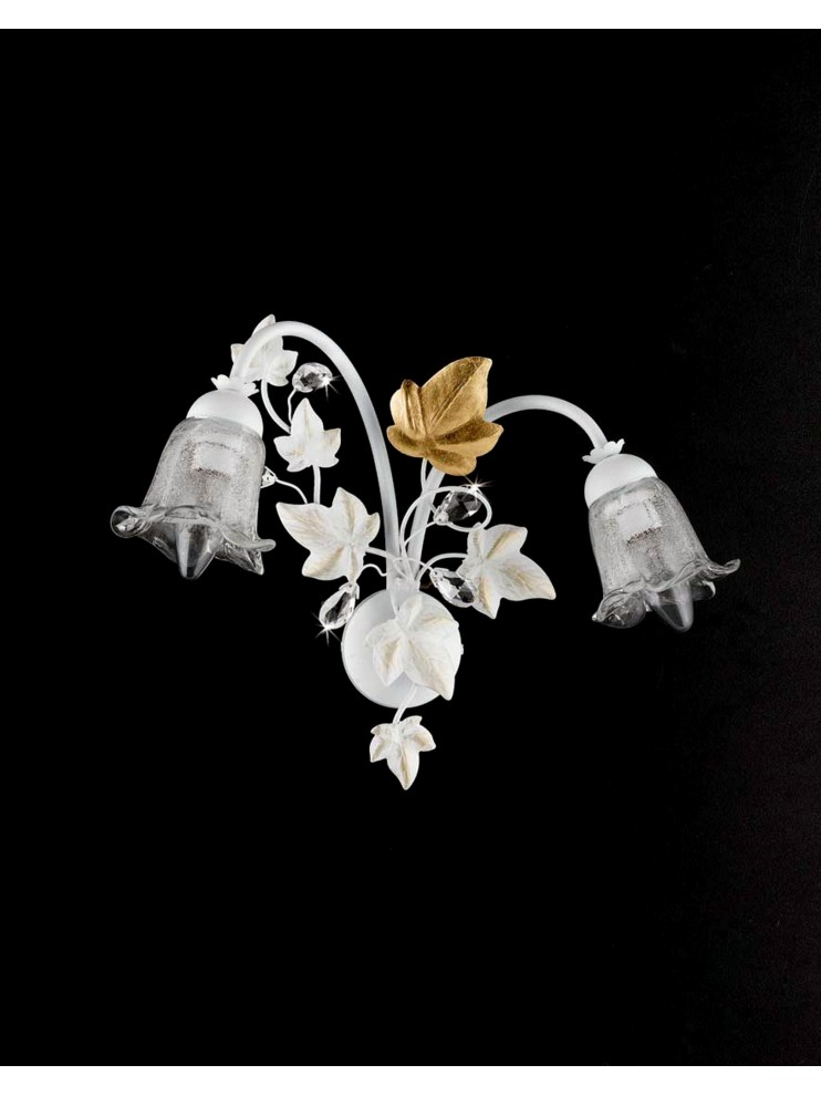 Applique in wrought iron white gold leaf 2 lights crystal ap 152/2