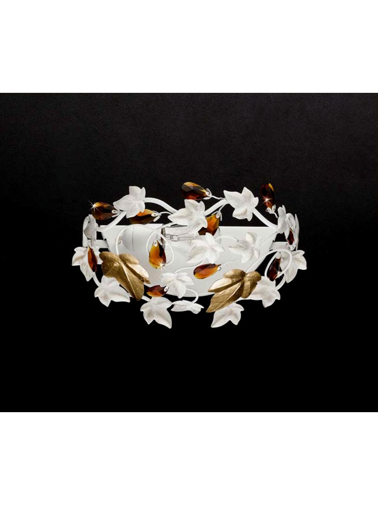 Applique in wrought iron white and gold leaf 1 light pre ap 152 / 30v