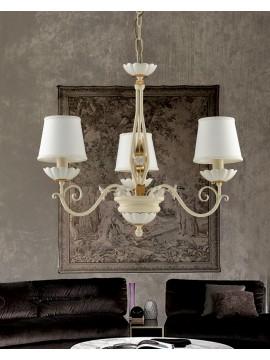 Lampadario classico ferro battuto avorio e porcellana 3 luci Ls 165/3P