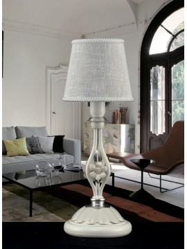 Table lamp in white wrought iron and porcelain 1 light pre Lp 165 / 1P