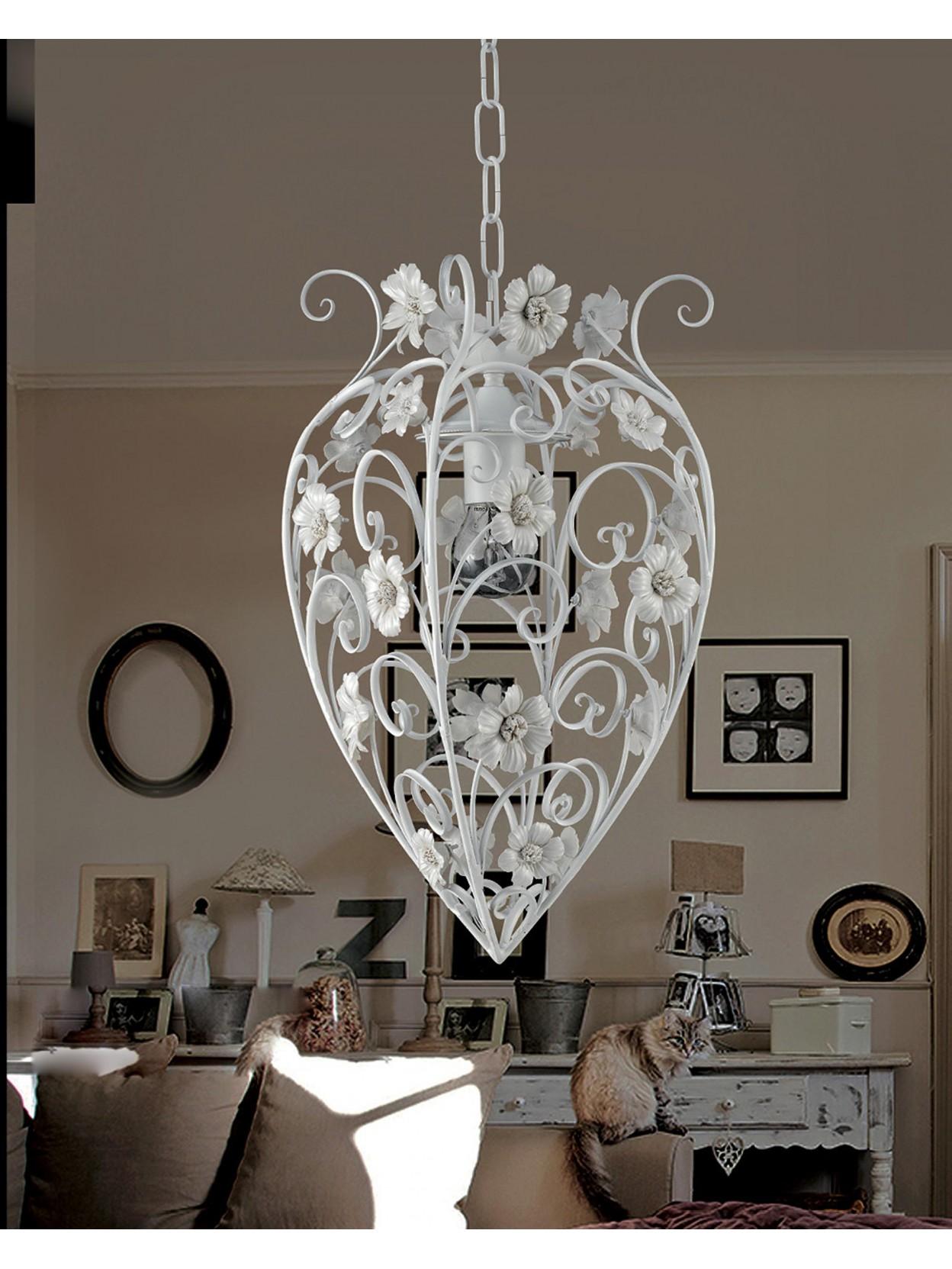 Lampadario In Ferro Battuto Bianco Con Porcellana 1 Luce