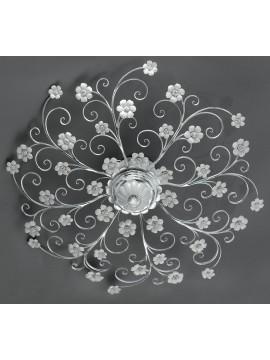 Plafoniera in ferro battuto argento e porcellana 8 luci pre Pl 165/90P