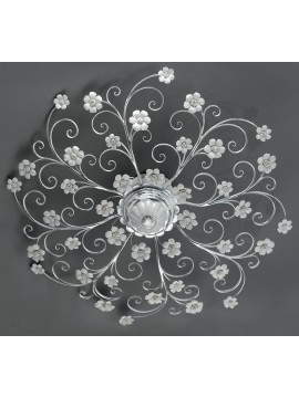 Wrought iron ceiling light silver leaf and porcelain 8 lights pre Pl 165 / 90P
