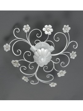 Ceiling lamp in white wrought iron and porcelain 3 lights Pl 165 / 45P
