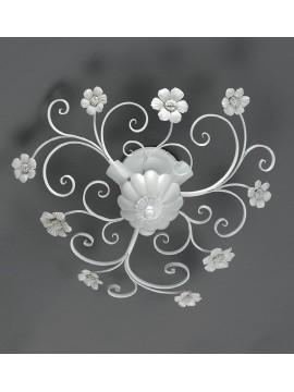 Plafoniera in ferro battuto bianco e porcellana 3 luci Pl 165/45P