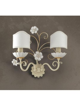 Applique in wrought iron ivory-gold and porcelain 2 lights Ap 165 / 2P