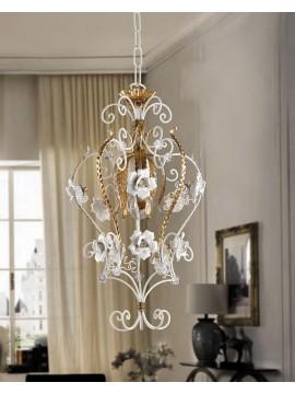 Lampadario classico in ferro battuto foglia oro 1 luce pre ING 159/P