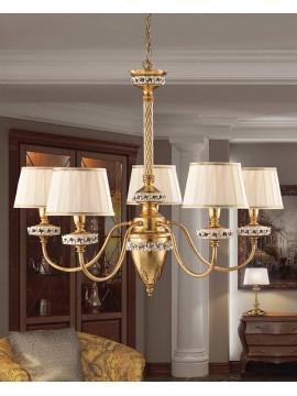 Lampadario classico ferro battuto foglia oro 5 luci LS 142/5
