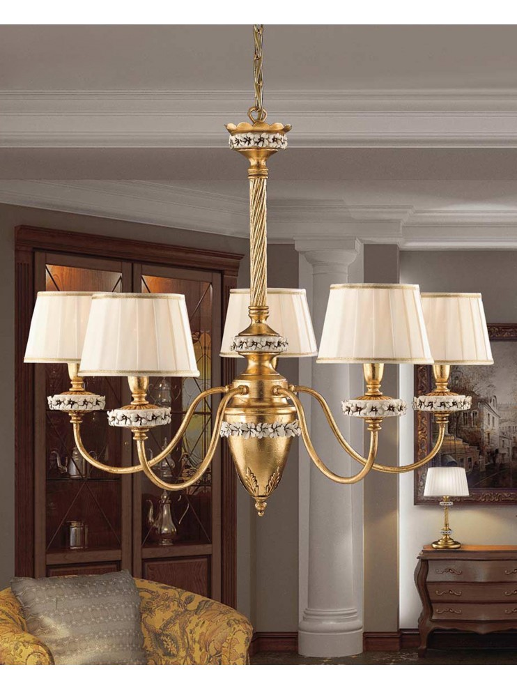 Classic chandelier with wrought iron, gold leaf, 5 lights LS 142/5