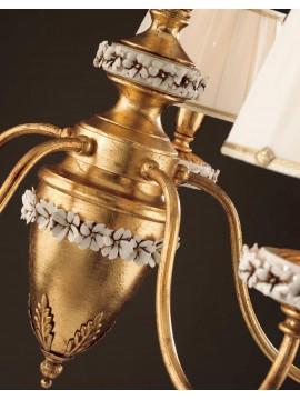 Lampadario classico ferro battuto foglia oro 3 luci LS 142/3
