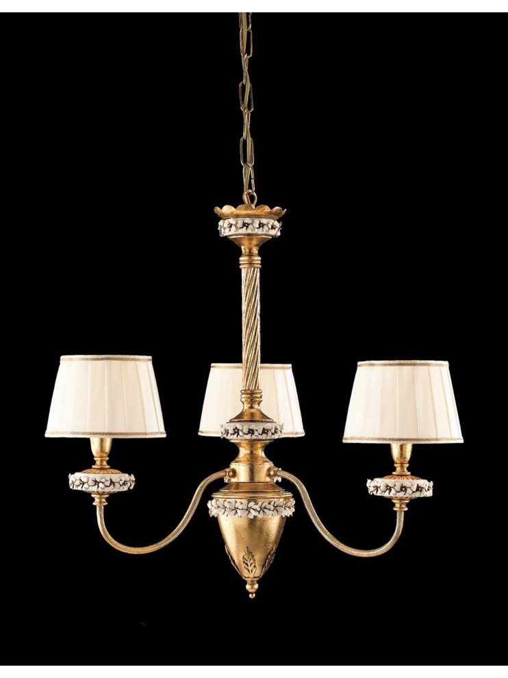 Classic chandelier wrought iron gold leaf 3 lights LS 142/3