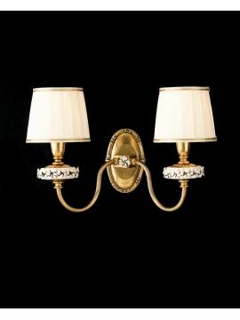Applique classico ferro battuto porcellana foglia oro 2 luci ap 142/2