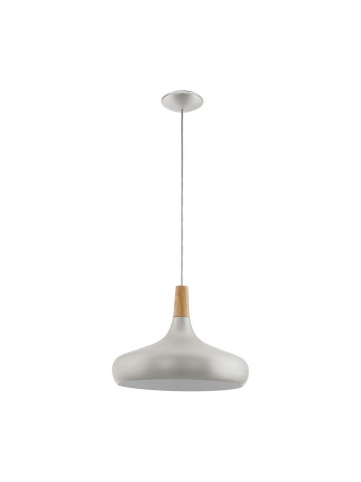 Lampadario moderno argento e legno 1 luce glo 96986 sabinar for Lampadario legno moderno