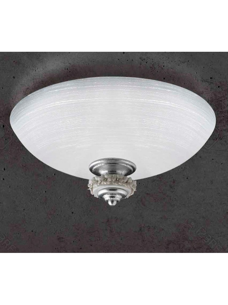 Plafoniera in vetro argento porcellana 2 luci Pl 142/50
