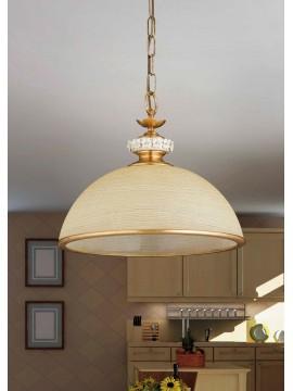 Lampadario in vetro foglia oro e porcellana 1 luce So 142/45